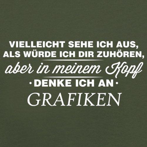 Vielleicht sehe ich aus als würde ich dir zuhören aber in meinem Kopf denke ich an Grafiken - Herren T-Shirt - 13 Farben Olivgrün