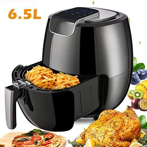 Meykey Heißluftfritteuse/Fritteusen, 6,5L, Smart Fryer Multifunktional, ohne Öl, Heißluft-Fritteusen einfach zu reinigen, mit Digitales Display, 1800 Watt, Schwarz