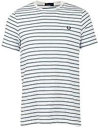 Fred Perry Hombres Camiseta de Rayas Finas m5573 608 Marina De Guerra