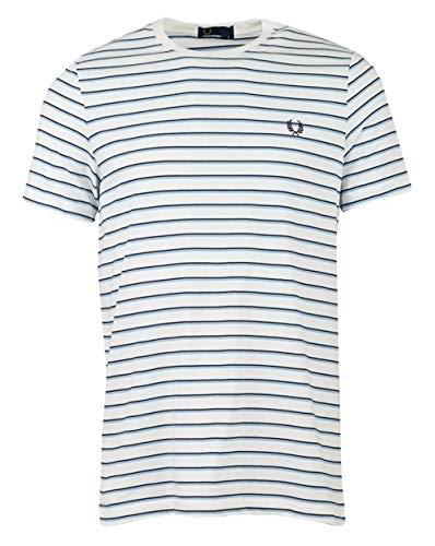 Fred Perry Hombres Camiseta de Rayas Finas m5573 129 Blanco M