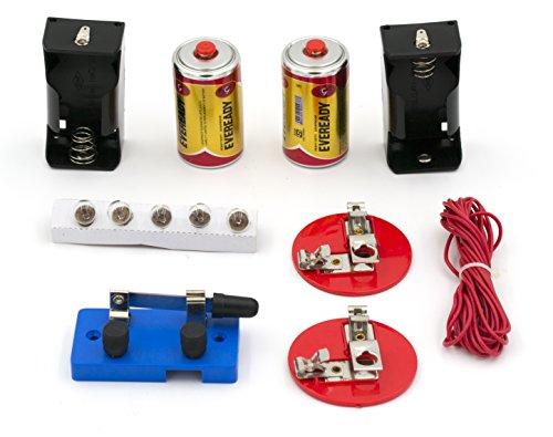 Basic Beginner Circuit Kit für die Lehre Serie und Parallel circuits- Schalter, (2) 'C' Batterien w/Halter, (2) Teelichthalter, (5) Leuchtmittel, Bulk Draht-eisco Labs Kit W/2 Batterien