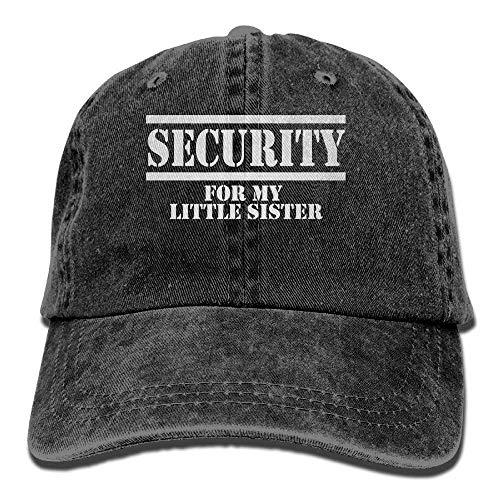 GHEDPO Security for My Little Sister Denim Baseball Caps Hat Adjustable Cotton Sport Strap Cap for Men Women