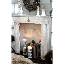 consola decorativa para chimenea estilo vintage color blanco