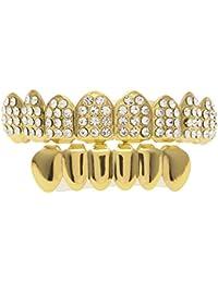 MCSAYS Hip Hop Moda Cristal Grillz 18k chapado en oro de Bling Bling helaron Conjunto de oro de acero inoxidable fuera