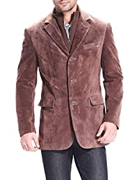 "BGSD Men's ""Brett"" Suede Leather Blazer with Zip-Out Bib (Regular & Tall)"