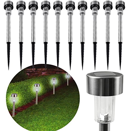 10 x Edelstahl LED Solarleuchte m. Erdspieß Gartenleuchte Solar Lampe Wegleuchte