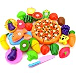 BIGBOBA Set of 24 Child Kitchen Food Slices Cutting Treat Fun Toy Set Plastic Pretend Play Food Toys Child Fruit Vegetable Kitchen Cutting Toy Children Kids Educational Toys