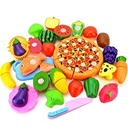 Leisial Gemüse 24 Stücke/Set Küchenspielzeug Kinder Schneiden Gemüse Frucht Spielzeug Kunststoff Küche Essen Kinder Küche Spielzeug