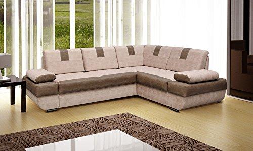 Ecksofa Sofa Eckcouch Couch mit Schlaffunktion und Bettkasten Ottomane L-Form Schlafsofa Polstergarnitur LOCO (Ecksofa Rechts, Cappuccino)