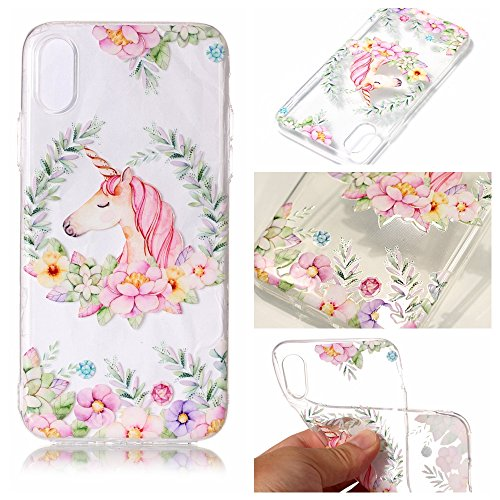 iphone X Custodia Cover, Cozy Hut iphone X Silicone Caso Molle di TPU Cristallo Trasparente Sottile Anti Scivolo Case Posteriore Della Copertura Della Protezione Anti-urto per iphone X - Liberi di vol unicorno