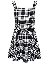 7b6c84037f9b Ladies Womens Tartan Check Pinafore Dungarees Buttoned Mini Skirt Dress UK  Sizes 8 10 12 14