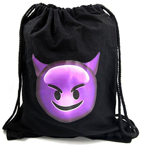 Imagen de premyo bolsa de cuerdas negra 100% algodón con emoji smiley con cuernos.  con cuerdas con impresión emoticon diablo devil de alta calidad gymsac con cordón saco de gimnasio ideal para viajar alternativa