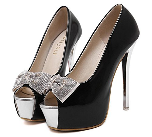 GS~LY Pesce bocca tacchi piattaforma di belle donne scarpe fiocco Red