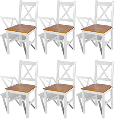vidaXL 6X Esszimmerstuhl Kiefernholz Weiß Natur Küchenstuhl Stuhl Stuhlgruppe