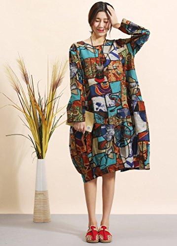 MatchLife Femme Vintage Col Rond Imprimé de Fleurs Coton Robe avec des Poches Style3 Bleu