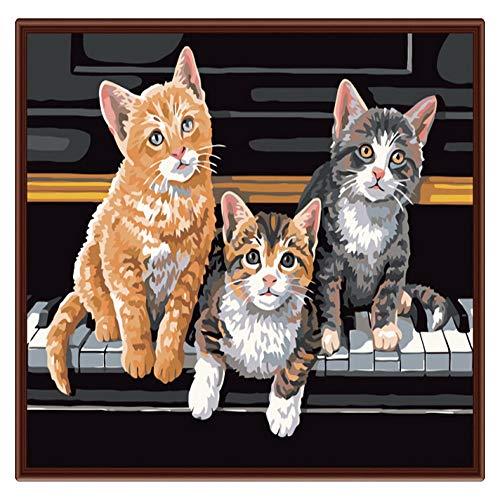 ZYCD Neue Digitale Farbe der Erwachsenen Kinder - DREI Kätzchen Leinen-Leinwand - Digitale Malerei Digitale Malerei Anzahl gesetzt Jugend Wandkunst (40*50cm/16*20inch) -