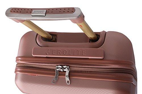 51eEGOvJ AL - Aerolite - Súper liviano, 3 piezas, equipaje de viaje rígido, maleta de viaje, con 4 ruedas (3 piezas, oro rosa)