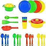 FLORMOON Jugar Platos Juguetes - 25 Piezas El Juego de aparentar Set de Juguetes de Cocina - Niños Que sirven Platos Vajilla Platos playset - Set de Juguetes de Cocina para niños.