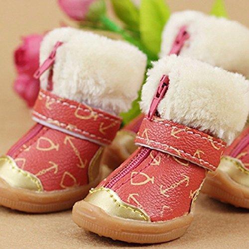 Neue Stiefel Schnee (4 pcs Heimtierbedarf_winter neue Schuhe Hund Schnee Stiefel Herbst und Winter Teddy Bobo Haustier, ein 02 rote Rose, 1 Yards)