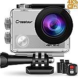Crosstour Action Cam 4K Wifi 16MP Camera Ultra HD 30M Unterwasserkamera 170°Ultra-Weitwinkel mit 2 Wiederaufladbare 1050mAh Batterien (Silber)