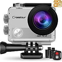 Crosstour Caméra Sport 4K Ultra HD Wi-FI 16 MP avec Télécommande Appareil Photo Caméscope Étanche 30M 170 °Grand-Angle avec 2 Pouces LCD 2 Batteries Rechargeables 1050mAh et 18 Accessoires CT9000 (Argent)