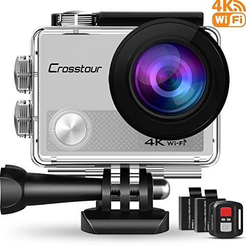 Crosstour Action Cam 4K 16MP Ultra HD WiFi Impermeabile 30m con Telecomando Sport Cam 170°Grandangolare 2 Pollici LCD 2 Batterie Ricaricabili da 1050 mAh e 20 Accessori(Argento)