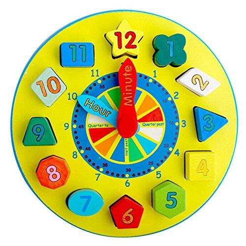 Preisvergleich Produktbild Highdas Baby-frühe pädagogische Spielwaren, Holzform Sortierung Uhr, hölzerne Uhr mit Zahlen und Formen Blöcke ordnen Zeit Lernspielzeug