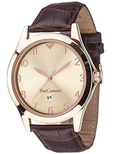 Yves Camani Allier - Reloj Quartz para hombre, color beige / marrón