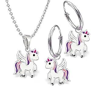 GH* KIDS Mini Pegasus Einhorn SET ANHÄNGER + KETTE + CREOLEN 925 Echt Silber Mädchen Kinder Ohrringe Pferde Geschenkidee