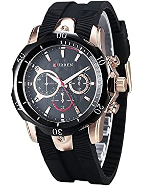 Wasserdicht Herren Schwarz Rubber Strap Golden Sports Präzise Stil Freizeit Quarz Armbanduhr (Fake klein Zifferblatt)