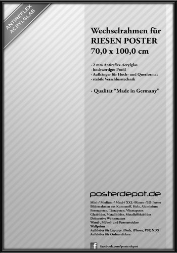 Bilderrahmen f. Riesen Poster - Größe 70 x 100 cm, Schwarz - Antireflex Acrylglas (Riesen Bilderrahmen)