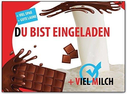 Einladungskarten Kindergeburtstag Kinder Schokolade Jungen Mädchen cool 8 Stück ausgefallen witzig lustig originell