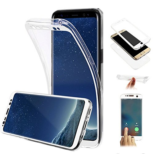 Galaxy S8 Hülle,Galaxy S8 Silikon Hülle,JAWSEU Schutzhülle Samsung Galaxy S8 Hülle [Glitzer Strass Ring Stand Holder], Luxus Glitzer Bling Diamant Strass Spiegel TPU Case für Samsung Galaxy S8 Bumper  360 Grad:Weiß