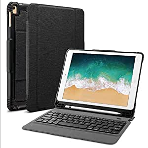 """OMOTON Detachable Keyboard Case for New iPad 9 7"""" 2018&2017, iPad Pro 9 7,  iPad Air/Air 2, Ultra-thin Bluetooth Keyboard Case with Built-in Stand"""
