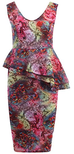 Chocolate Pickle ® Nouveau Femmes Double volants floral Peplum robe moulante Midi 36-50 Cerise Tie Dye print