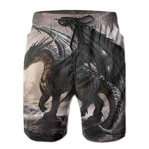 Herren Badehose Schwarz Flying Dragon Casual Sportswear Quick Dry Beach Shorts für Jungen Sommer