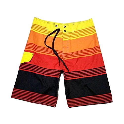 Baymate Boardshorts Mit Streifen Badeshorts Multi-Color Surf-Shorts Für Herren Rot
