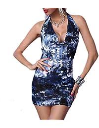 """Antemi - Femmes - Robe courte décolleté et motif abstrait """"Anek"""" - Bleu Marine - Taille M"""