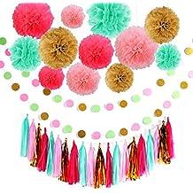 Decoración de cumpleaños, Guirnaldas de cumpleaños, 12 flores de papel de seda PomPoms y 20 guirnalda de borlas, guirnalda de papel de 2 puntos para decoraciones de fiesta, decoración de cumpleaños p