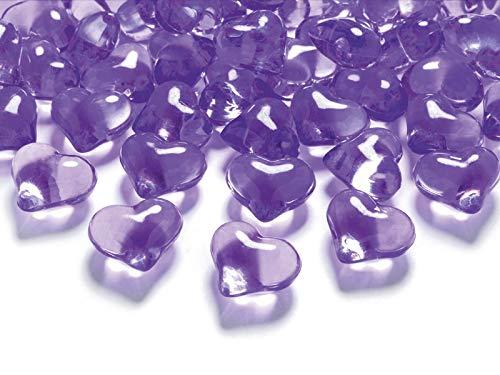 MultiProject Diamanten Dekosteine Herzdiamanten rot 30 Stück Acryl Tischdeko Streudeko Hochzeit (Violett) (Rote Glas Perlen Für Vasen)