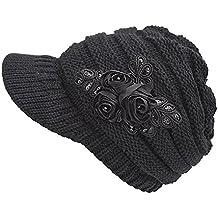 12e0c053ce1b Damen Winter Warme Gestrickte Strickmütze Strick Beanie Mütze mit Schild  Cap Schwarz