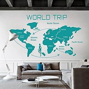 WallsUp Mundo Viaje Mapa Vinilo de Pared Mundo país Atlas Todo el Mundo Pegatina Vinilo Mapa de Pared decoración de Pared Oficina decoración, Vinilo, Verde Azulado, 49″ hx84 w