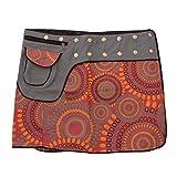 Leucht-Welten Damen Wickelrock Baumwolle Rock mit Tasche sk1 Design 5 Einheitsgröße verstellbar