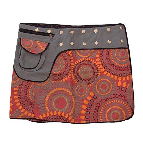 Leucht-Welten Damen Wickelrock Baumwolle Rock mit Tasche sk1 Design 5 Einheitsgröße verstellbar -