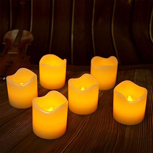 menlose Wachs Kerzen mit timer, 6 Stunden an und 18 Stunden aus, Dia 5cm and H 5cm Elektrische Flackernde Batteriebetriebene Teelichter, Led Votivkerzen Gelb, warme weiße [Energieklasse A+] (Batteriebetriebene Teelichter)