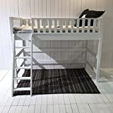 Extrem Robustes Holz Hochbett DANNENFELSER in weiß, umbaubar zu Kinderbett, Kinderhochbett, massives Holz Bett, multifunktional, umbaubar, Höhe 160cm, Lattenrost inklusive 90x200cm #15266