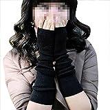 Guantes Mujer Invierno Otoño ,TININNA Guantes sin Dedos Tejido de Punto Largo Brazo Suave Cálido Elásticos Manguitos Calentadores para Mujeres Niñas-Negro