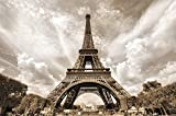 Poster Eifelturm Wandbild Dekoration Frankreich Hauptstadt Paris Sehenswürdigkeit Wahrzeichen Eiffel Tower Aussichtsturm | Wandposter Fotoposter Wanddeko Bild Wandgestaltung by GREAT ART (140 x 100cm)