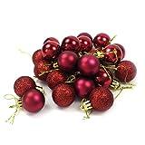 Kleine Minni Dekokugeln Weihnachten Weihnachtskugeln Kugeln matt glänzend glitzernd 24 Stück 3cm weinrot rot dunkelrot Bordeaux