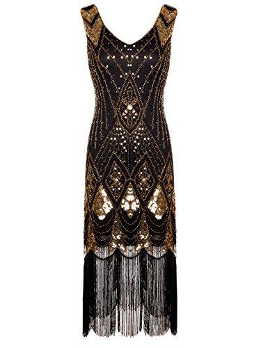 Gatsby Pailletten verziert Quasten Saum Flapper Kleid D20S014 (M, Schwarz Gold) (Gold Flapper)